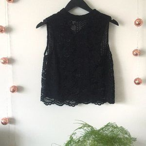 Forever 21 Black Lace Floral Crop Top Blouse Sheer